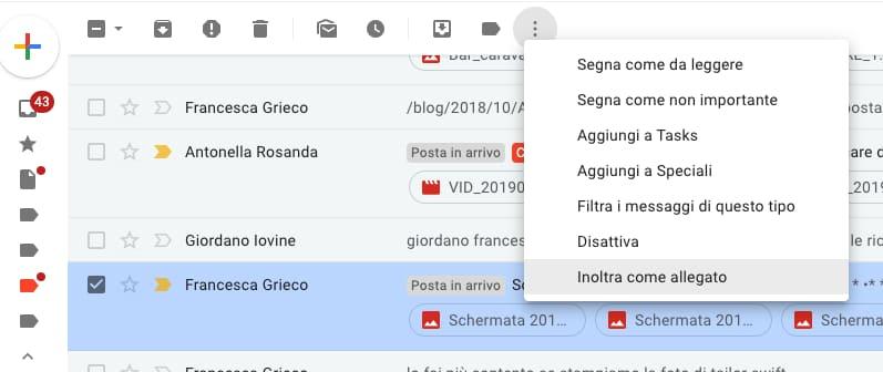 Allega email in Gmail