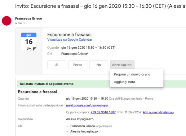 Aggiornamento G Suite. Proporre un nuovo orario Google Calendar in Gmail