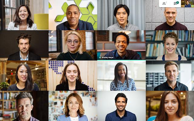 Vedi fino a 16 altri partecipanti alla riunione nel layout Google Meet.
